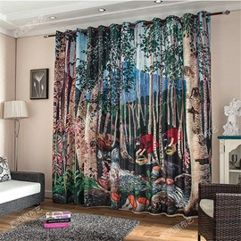 3D Small Girl with Basket and Old Trees Printed Comic Style Polyester Decorative Curtain
