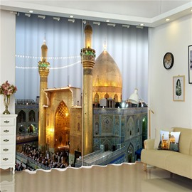 3D Resplendent Castles Printed Dubai Buildings Scenery Water-Proof and Blackout Curtain
