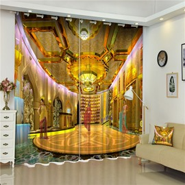 3D Golden Buildings Printed Thai Style Thick Polyester Exotic Style Blackout and Dust-Proof Curtain