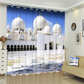 3D Zayed Mosque of The United Arab Emirates Printed Building Scenery 2 Panels Curtain