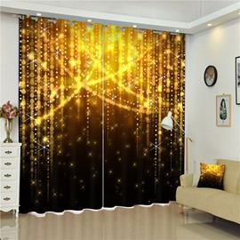 3D Golden Shadows Bright Stars Printed Gorgeous and Amazing Scenery Decorative Curtain