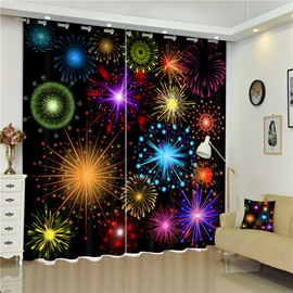 3D Blooming Colorful Fireworks Printed Thick Polyester Dust-Proof and Water-Proof Curtain