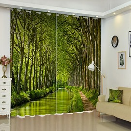 3D Green Towering Trees and Small Road Printed Thick Polyester Wonderful Scenery Bed Room Curtains
