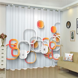 3D Irregular Circles Printed Thick Polyester Creative and Modern Style Living Room Curtain
