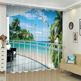 Flying Seagulls and Blue Water Thick Polyester Beach Scenery 2 Panels Bedroom 3D Curtain