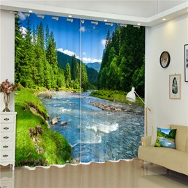 Flowing River with Thick Forest Thick Polyester 3D Decorative and Blackout Living Room Curtain