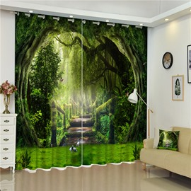 Thick Polyester and Wooden Road 3D Window Decoration Bedroom and Living Room Curtain