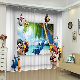 3D Dogs Parrots and Birds in the Seaside Printed Blackout Polyester Curtain