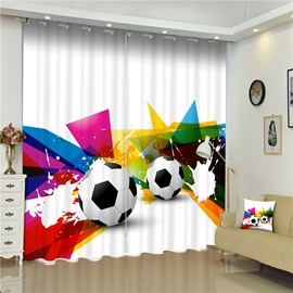 3D Footballs Printed Thick Polyester Dust-Proof and Water-Proof Modern Window Curtain