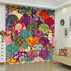 3D Bright Colorful Blossoms Printed Modern and Fashion Style Living Room Shading Curtain