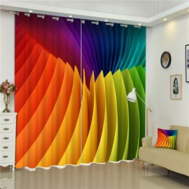 3D Colorful Papers Printed Creative and Modern Style Bedroom Polyester Custom Curtain