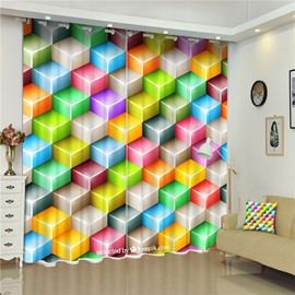 3D Colorful Checks Printed Thick Polyester Bedroom Decorative and Shading Curtain
