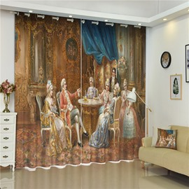 3D Luxury French Court Party Printed 2 Panels Decorative and Blackout Living Room Curtain