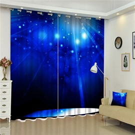 Blue Night Sky with Bright Stars Decorative and Blackout Living Room and Bedroom Curtain