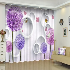 3D Round Circles and Purple Dandelion Trees with Butterflies Printed Decorative Curtain