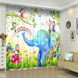 3D Happy Family with Elephant and Rainbow Printed 2 Pieces Living Room and Bedroom Curtain