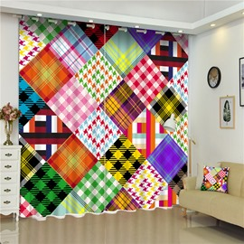 3D Colorful Square Patterns Printed Wonderful Scenery 2 Panels Bedroom Custom Curtain