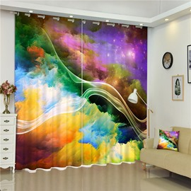 Abstract Colorful Ink-Wash Painting Creative and Modern Style Living Room Curtain
