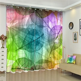 3D Dreamy Colorful Leaves Printed Creative and Modern Bedroom Polyester Curtain