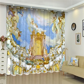 3D Majestic Temples Printed Exotic Features Decorative and Blackout Living Room Curtain