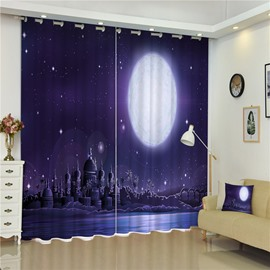 Grand Castles under Bright Moonlight Purple Night Scenery 2 Panels Decorative Curtain