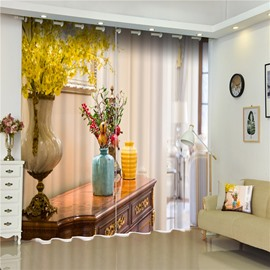 3D Retro Yellow Flowers and Vase Printed European Noble Decorative Curtain