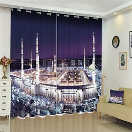 3D Majestic Mecca Mosques Printed Architectural Landscape Custom Shading Curtain