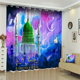 3D Cartoon Dreamy Castles Printed Thick Polyester Decorative and Dust-Proof Curtain