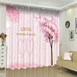 3D Pink Trees and Pink Heart Shaped Patterns Printed 2 Panels Romantic Window Curtain