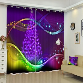 3D Fluent Music Notation and Christmas Trees Printed 2 Panels Thick Polyester Curtain