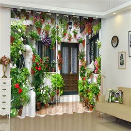 3D Beautiful Flowers on the Wall Printed Decorative and Blackout Living Room Curtain