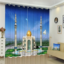 Wonderful Islamic Mosque Thick Polyester 2 Pieces Custom Living Room Window Curtain