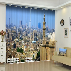 3D City Buildings Printed Thick Polyester Dust-Proof and Blackout Bedroom Curtain