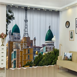 3D Wonderful Churches Printed 2 Panels Living Room and Bedroom Decorative Curtain
