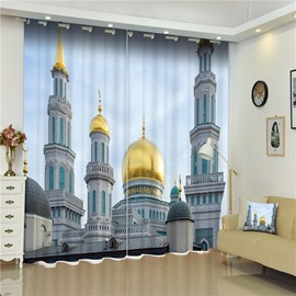 3D Tall Buildings Bazaar Church Printed 2 Panels Decorative Living Room Curtain