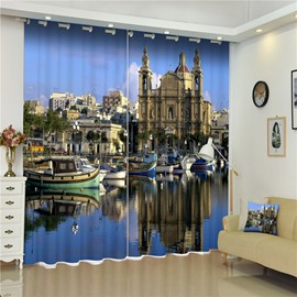 3D Characteristic Landscape Seashore City Printed Decorative and Shading Polyester Curtain