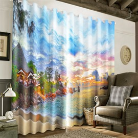 3D Fine House in the Beautiful Seaside Printed Natural Style Living Room Decorative Curtain