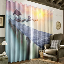 3D Wooden Bridge on the Sea Printed 2 Panels Decorative and Creative Curtain