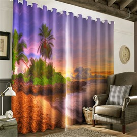 3D Green Palm Trees and Peaceful Sea Printed Natural Scenery Living Room Drapes