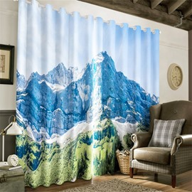 3D Soaring and Rolling Hills Printed 2 Panels Decorative and Blackout Grommet Top Curtain