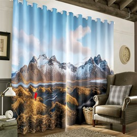 3D Rolling Mountains Covered with Snows Printed Winter Scenery Grommet Top Curtain