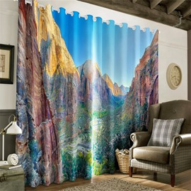 3D High Mountains Printed 2 Panels Decorative and Blackout Grommet Top Curtain