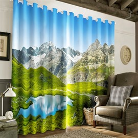 3D Small Lake in Huge Rolling Hills Printed Grand Natural Beauty Printed Grommet Top Curtain