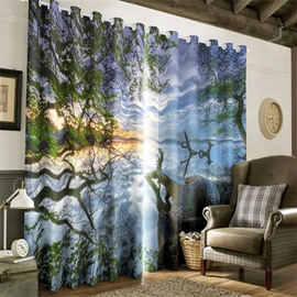 3D Green Trees and White Clouds Natural Scenery Printed 2 Panels Blackout Curtain