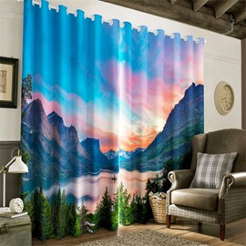 3D Turbulent River and Rolling River Printed 2 Panels Decorative and Blackout Curtain