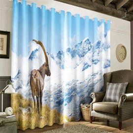 3D Lovely Elks and White Snow on the Mountain Printed Heat Insulation Grommet Top Curtain