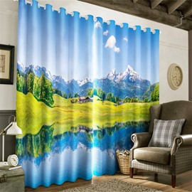 3D High Ice-Berg and Lush Grassland Printed 2 Panels Living Room Decorative Curtain