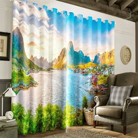 3D Seaside Villages and Flowing River Printed Natural Style Blackout Window Curtain