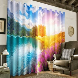 3D Limpid Lake and Lively Purple Lavenders Printed Heat Insulation Window Cloth