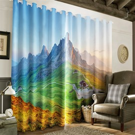 3D High and Green Mountains Printed Living Room and Bedroom Heat Insulation Curtain